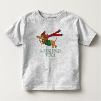 Dachshund Through the Snow Toddler Jersey T-Shirt