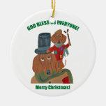 Dachshund Tiny Tim Christmas Ornaments