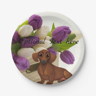 Dachshund Tulips Paper Party Plate