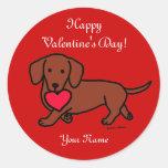 Dachshund Valentine Cartoon Round Stickers