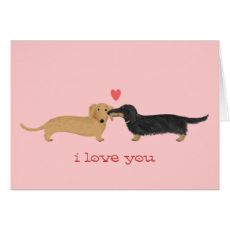 Dachshund Valentine Kiss Note Card