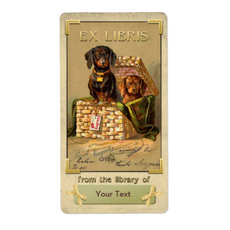 Dachshund  - Vintage Book Plate ID Shipping Label