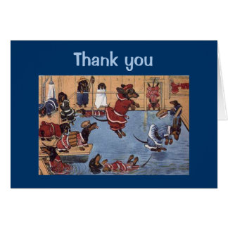 Dachshund Vintage Thank You Greeting Card