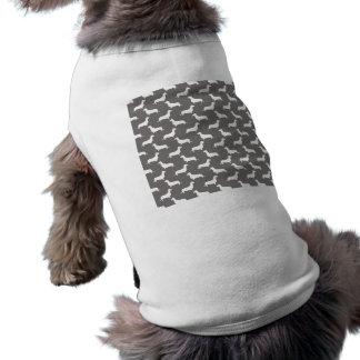 Dachshund White Silhouettes on Dove Grey Sleeveless Dog Shirt