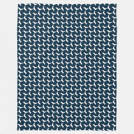 Dachshund White Silhouettes on Navy Blue Fleece Blanket