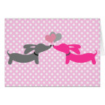 Dachshund Wiener Dog Love & Hearts Card