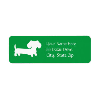 Dachshund Wiener Dog on Green Return Address Label