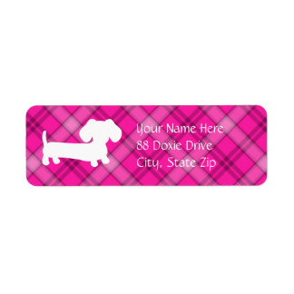 Dachshund Wiener Dog on Pink Plaid Return Address Label
