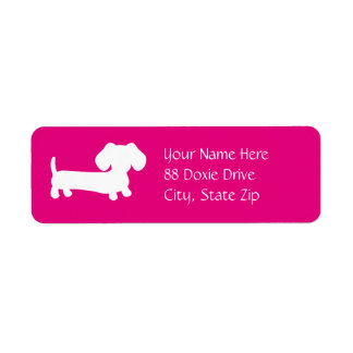 Dachshund Wiener Dog on Pink Return Address Label