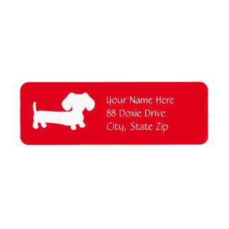 Dachshund Wiener Dog on Red Return Address Label