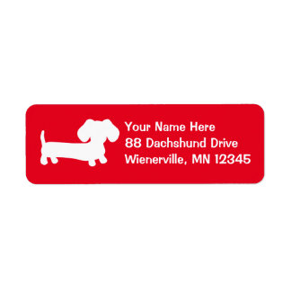 Dachshund Wiener Dog Red Return Address Labels