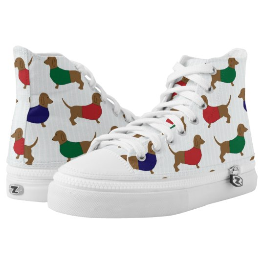 Dachshund Wiener Dog Zipz High Top Sneakers Shoes