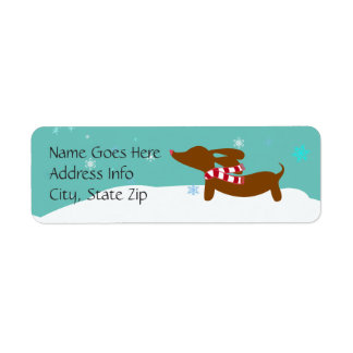 Dachshund Winter Holiday Return Address Labels