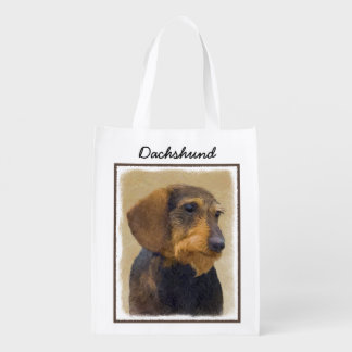 Dachshund (Wirehaired) Painting Original Dog Art Reusable Grocery Bag