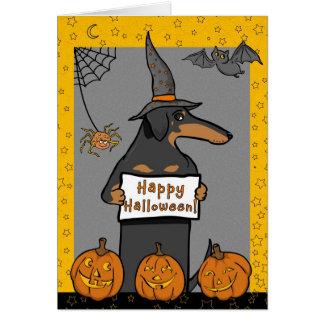 Dachshund Witch Halloween Card