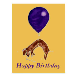 dachshund with balloon postcard