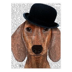 f3c01ded43791 Dachshund with Black Bowler Hat Postcard