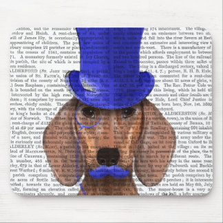Dachshund With Blue Top Hat and Blue Moustache Mouse Pad