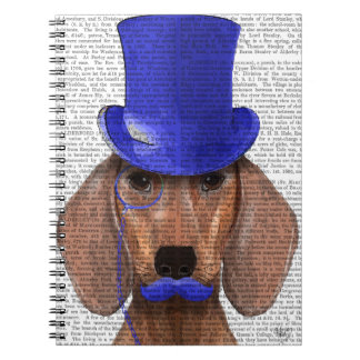 Dachshund With Blue Top Hat and Blue Moustache Notebooks