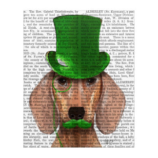 Dachshund With Green Top Hat and Moustache Acrylic Print