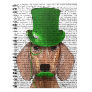 Dachshund With Green Top Hat and Moustache Notebook