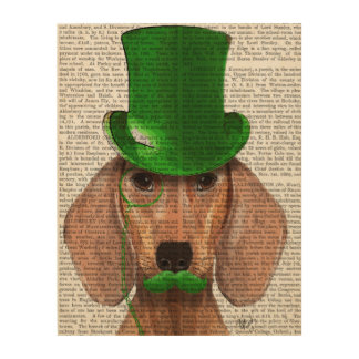 Dachshund With Green Top Hat and Moustache Wood Wall Decor