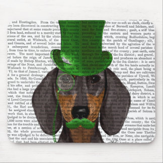 Dachshund with Green Top Hat Black Tan 2 Mouse Pad