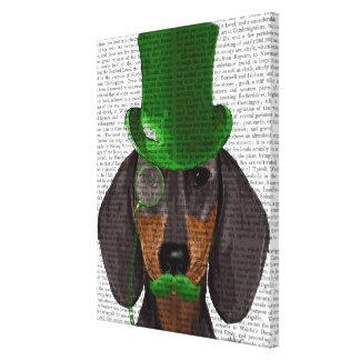Dachshund with Green Top Hat Black Tan Canvas Print