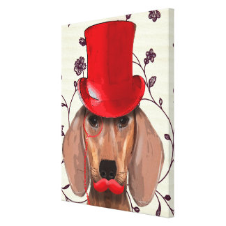 Dachshund With Red Top Hat Canvas Print