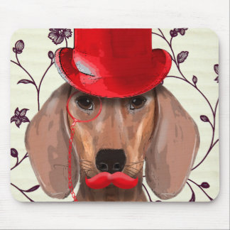 Dachshund With Red Top Hat Mouse Pad
