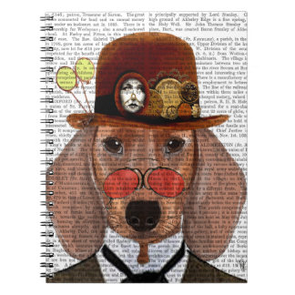 Dachshund with Steampunk Bowler Hat Note Books