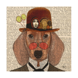 Dachshund with Steampunk Bowler Hat Wood Wall Decor