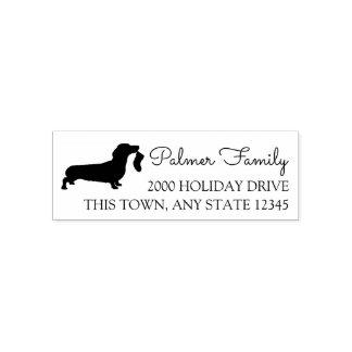 Dachshund with Stocking Holiday Address Self-inking Stamp