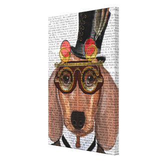 Dachshund with Top Hat and Goggles Canvas Print
