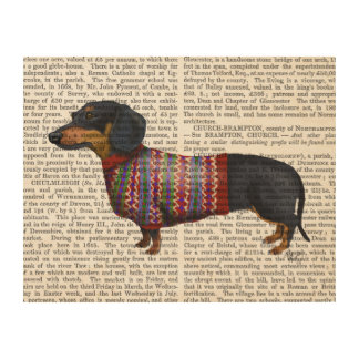 Dachshund With Woolly Sweater Wood Wall Decor