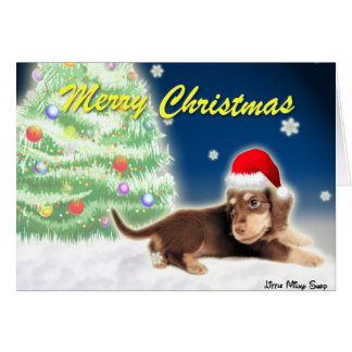 Dachshund Xmas Tree Christmas Card