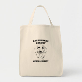 dachshunds against animal cruelty grocery tote bag