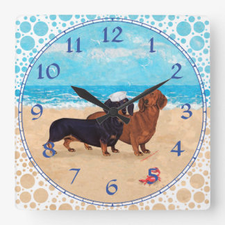 Dachshunds at the Beach Square Wall Clock