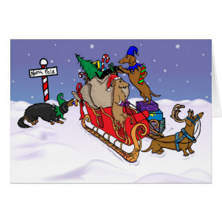 Dachshunds at the North Pole Card