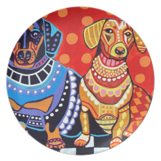 Dachshunds by Heather Galler Plate