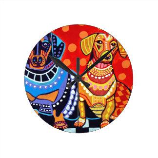 Dachshunds by Heather Galler Round Clock