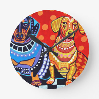 Dachshunds by Heather Galler Wallclocks