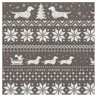 Dachshunds Christmas Sweater Pattern Fabric