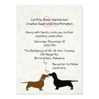 Dachshunds Custom Ivory Wedding Invitation
