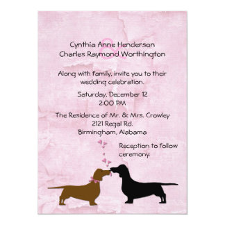 Dachshunds Custom Pink Wedding Invitation