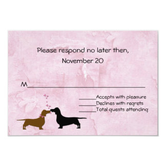 "Dachshunds Custom Pink Wedding RSVP 3.5"" X 5"" Invitation Card"