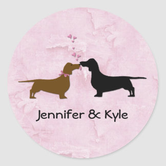 Dachshunds Custom Wedding Stickers