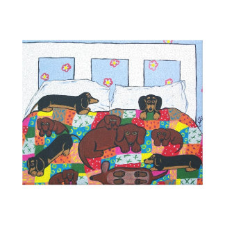 Dachshunds in Bed Canvas Art