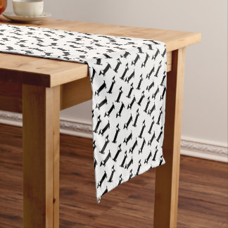 Dachshunds in black and white short table runner