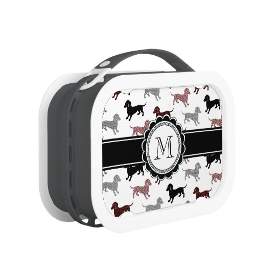 Dachshunds in Damask Cute Pattern Lunchboxes